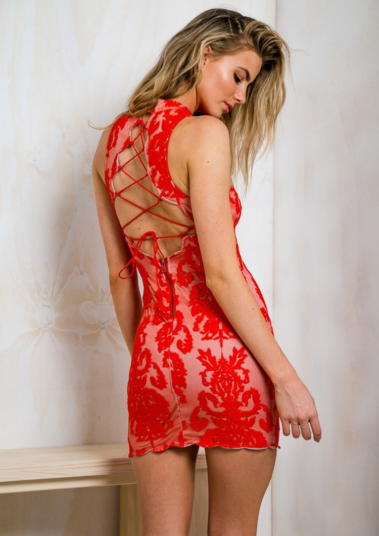 Cherry Ripe Crumble Womens Lace Dress - Red-SALE - Stelly