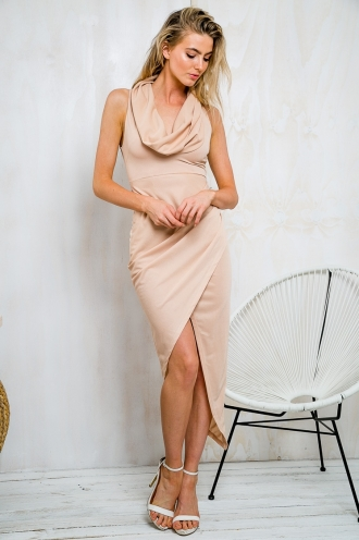 Cowl Neck Draped Maxi Dress - Nude -SALE