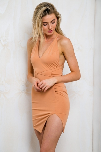 Backless Halter Neck Bodycon Dress - Terracotta-SALE