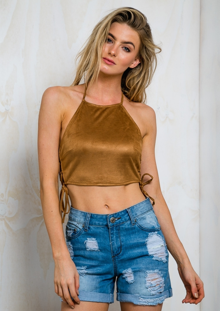 Suede Lace Up Halter Crop Top Tan Sale Stelly