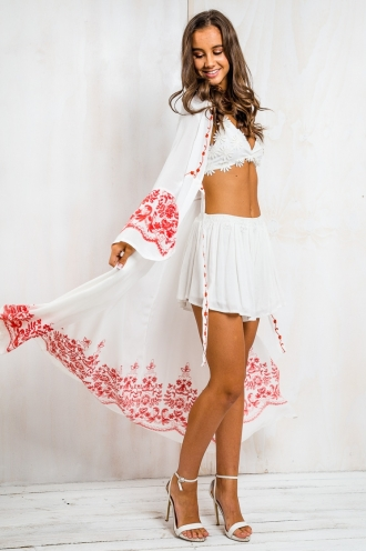 Embroidered Long Sleeve Cape - White
