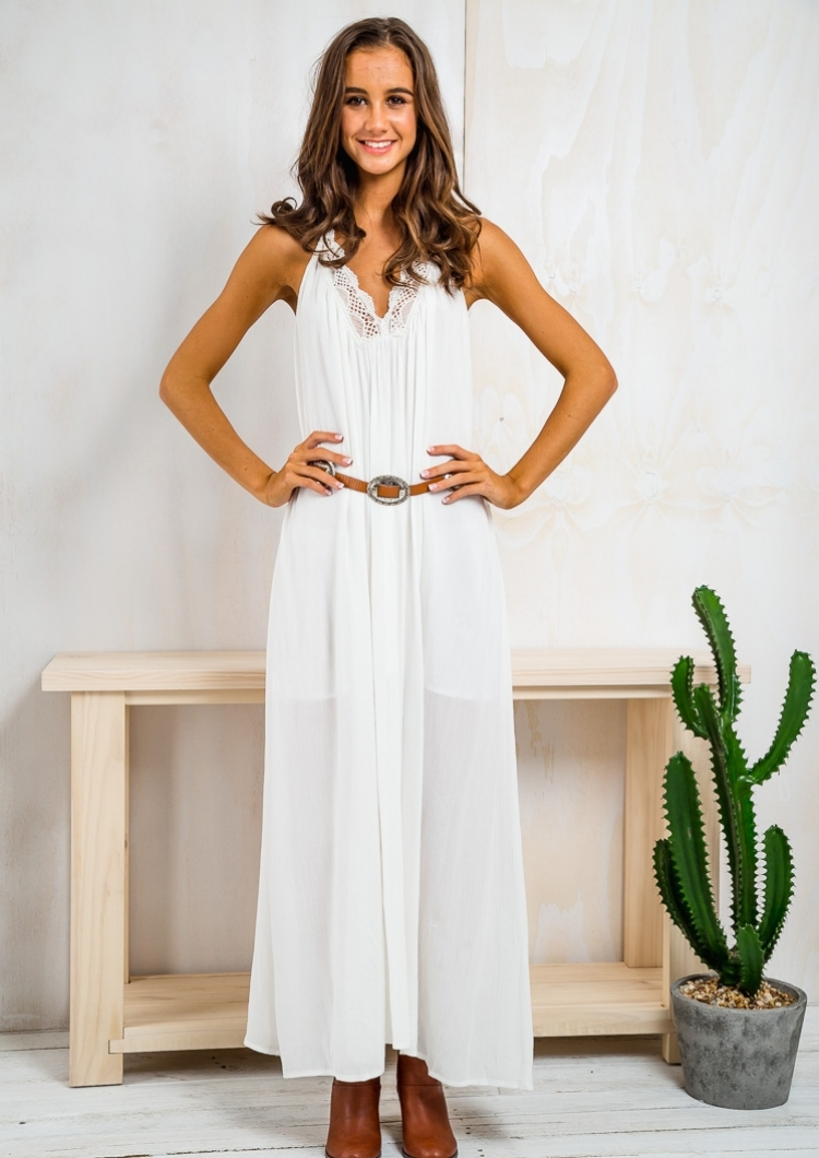 Low Back Halter Neck Maxi Dress - White-SALE - Stelly