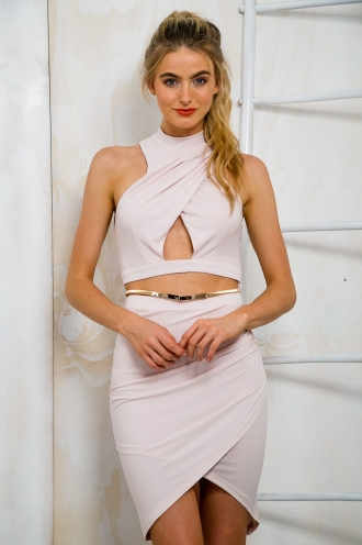 Keyhole Wrap Crop Top - Blush