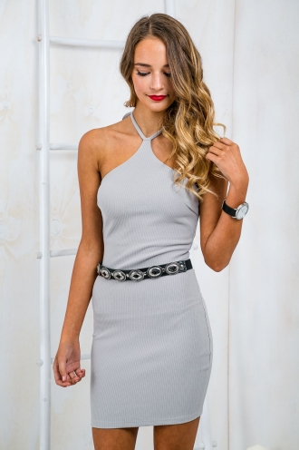 Turn It Up Halter Neck Bodycon Dress - Grey-SALE