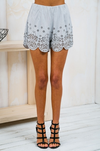 Daisy Suede Cutout Pattern Shorts - Grey-SALE