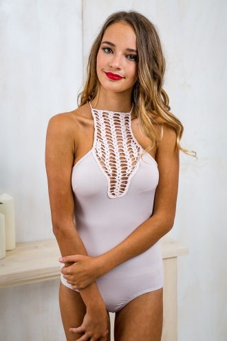 Crochet Baskless Bodysuit - Pale Pink