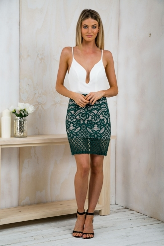 Forest Lace Pencil Skirt- Green RESHOOT