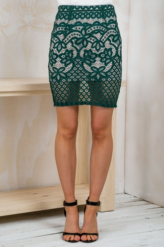 Forest Lace Pencil Skirt- Green SALE