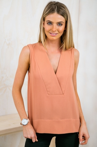 Time Out Oversized V-Neck Top - Rusty Orange-SALE