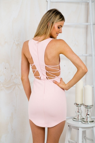 Mandy Laced Back Bodycon Dress - Pink-SALE