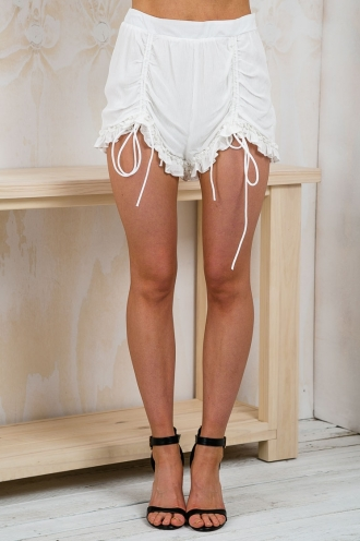 Aquamarine Draw Tie Ruffle Shorts - White-SALE
