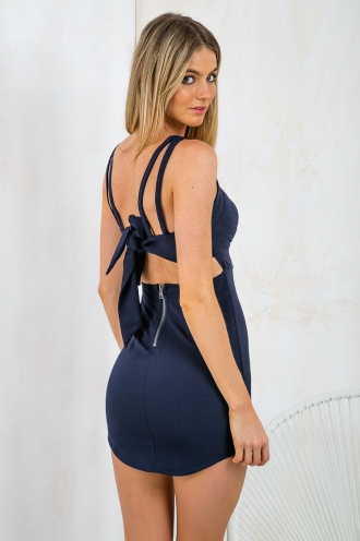 Saturday Nights Bustier Dress - Navy-SALE