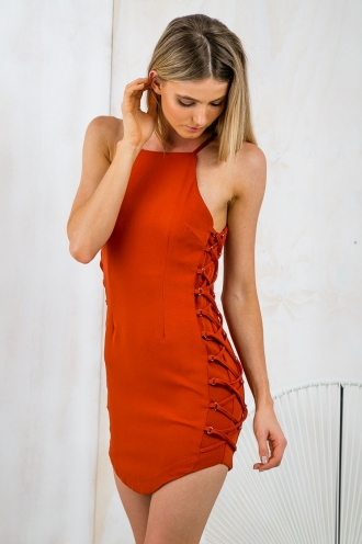 Emerald City Laced Side Dress - Burnt Orange-SALE