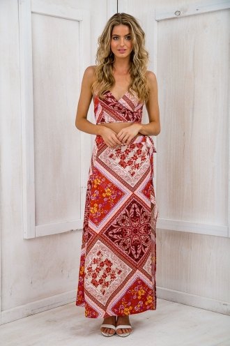 Story Teller Wrap Maxi Skirt - Burnt Orange Print