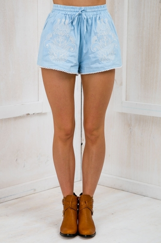Rip Tide Embroidered Elastic Shorts- Denim Blue-SALE