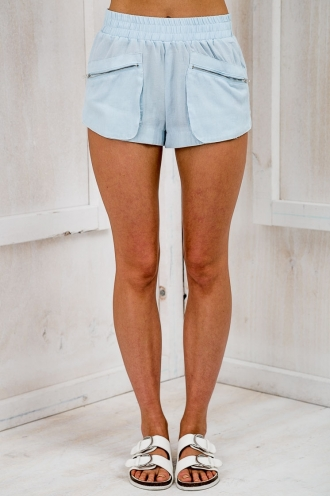 Strolling Elastic Zip Shorts - Denim Blue-SALE