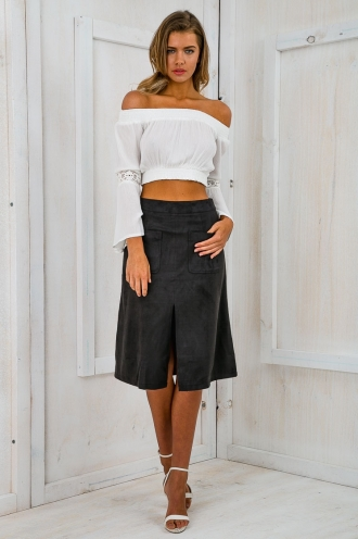 Work It mid length suede skirt - Charcoal Grey