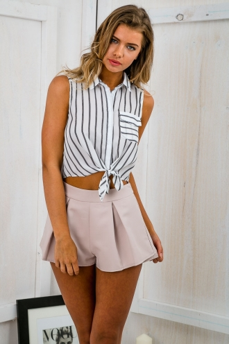 Risk it all tie up blouse - Black/White Stripe