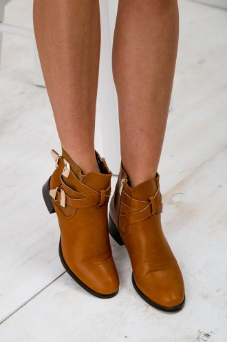 Step Up Buckled Boots - Tan/Gold