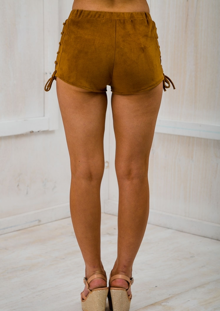 Country Girl Lace Up Suede Shorts Tan Sale Stelly