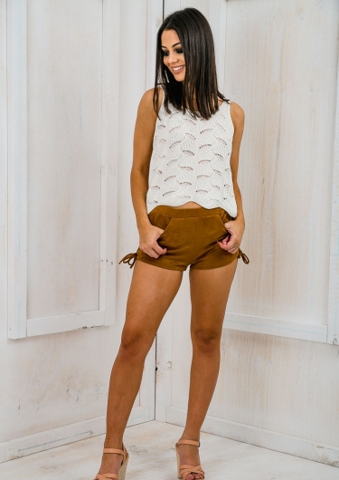 Country girl lace up suede shorts - Tan