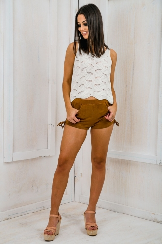 Country girl lace up suede shorts - Tan SALE