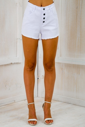 Heidi Denim Cut Off Shorts - White SALE