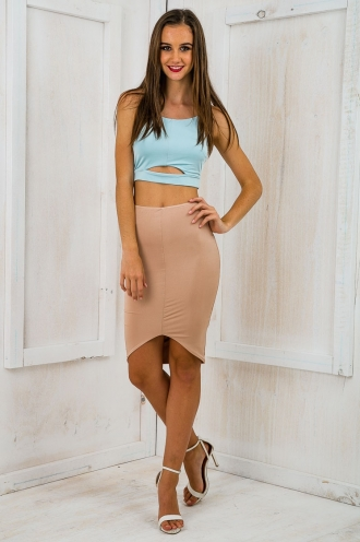Appletini Cutout Crop Top -Steel Green