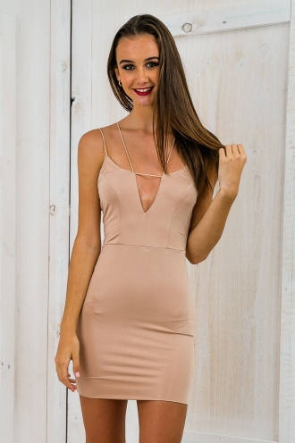 Planet Neptune Mini Dress - Nude-SALE