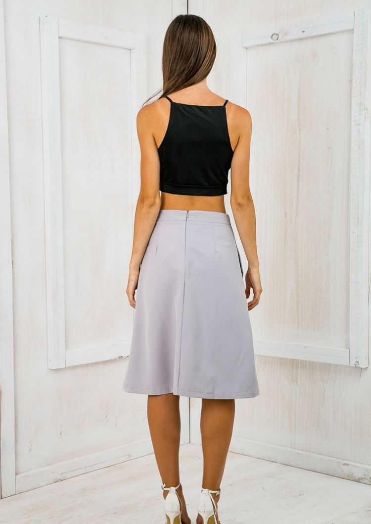 Time for business A-line skirt - Grey SALE - Stelly