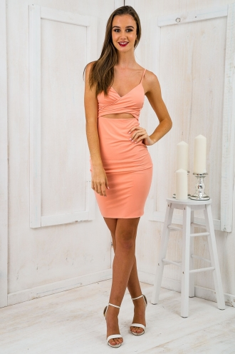 Dessire Cross Over Bodycon Dress- Coral Pink SALE