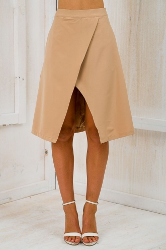Time for business A-line skirt - Caramel-SALE