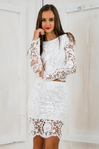 Planet Earth Backless Lace Top - White-SALE