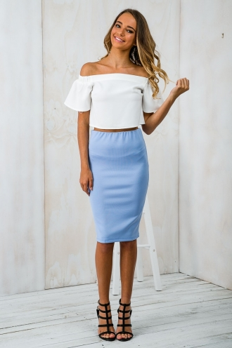 Luna Pencil Skirt - Powder Blue