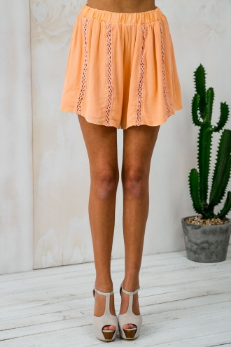 Peaches Please Floaty Shorts - Peach SALE