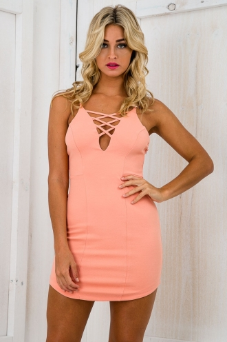 Chained Up Low Back Bodycon Dress - Coral