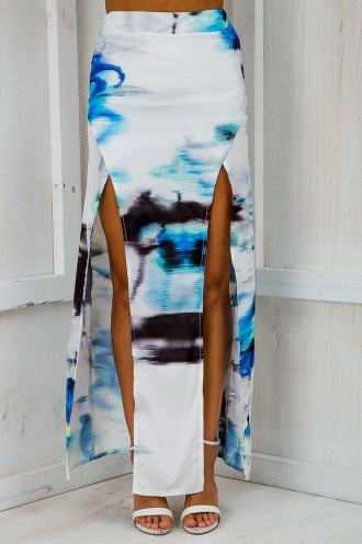 Go with the tide maxi skirt - White dye print-SALE