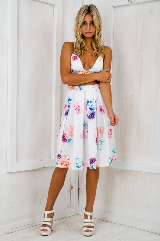 Bahama flared midi skirt - White floral