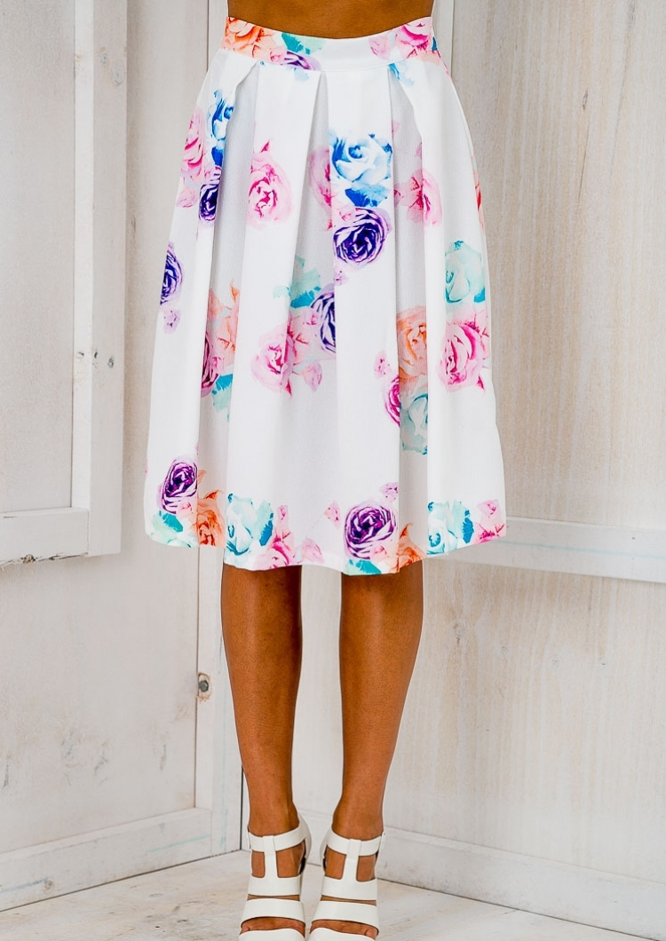 Bahama flared midi skirt - White floral-SALE - Stelly