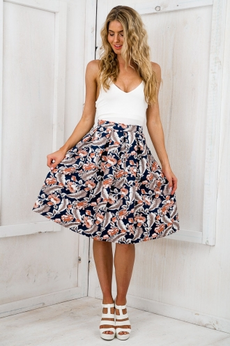 See you again flared skirt - Navy Floral
