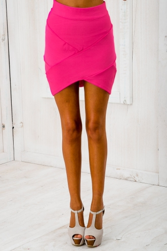 Faye Cross Over Bandage Skirt - Hot Pink